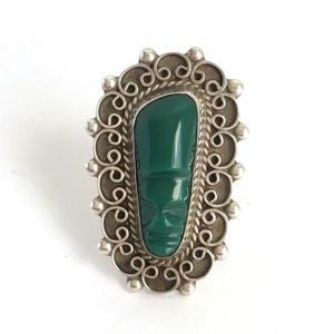 Vintage Taxco Mask Ring Green Onyx Aztec Mexico